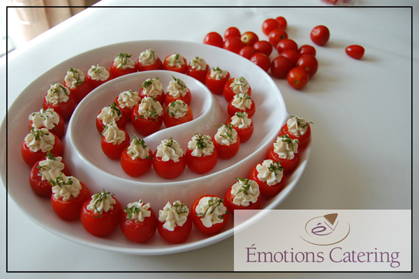 Cherry Tomatoes Stuffed with Roasted Garlic Cream Cheese