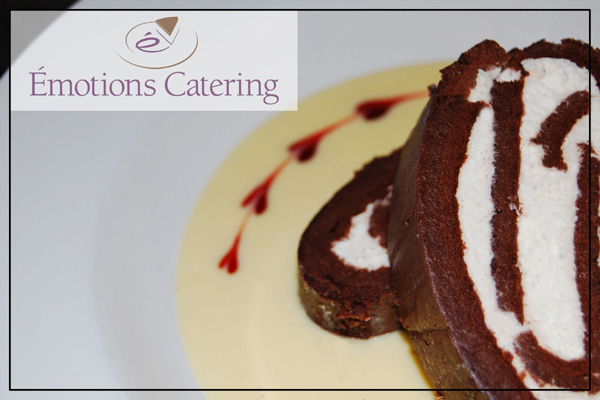 Chocolate Truffle Roulade with Sabayon Sauce