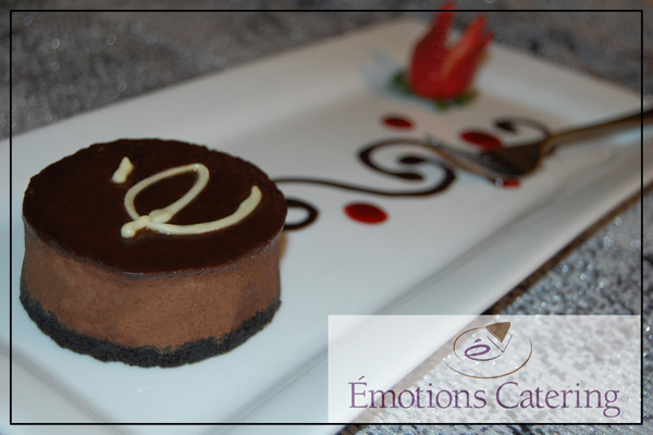 Triple Chocolate Mousse with Raspberry Coulis
