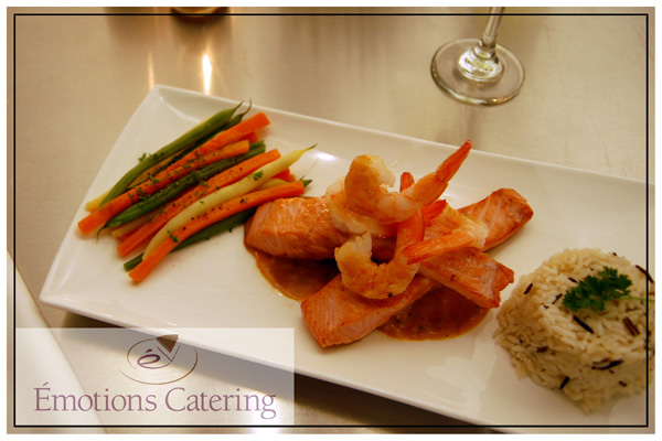 Salmon topped with Shrimp in a Peppercorn Sauce