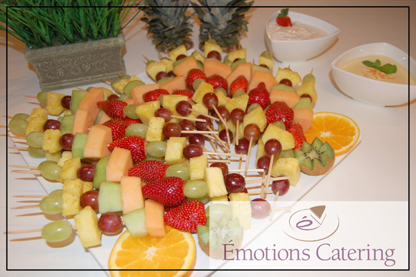 Tropical Fruit Kabobs with Creamy Orange and Strawberry Dip