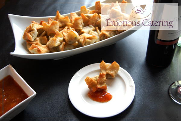 Wontons stuffed with Curried Vegetables with an Apricot dipping sauce